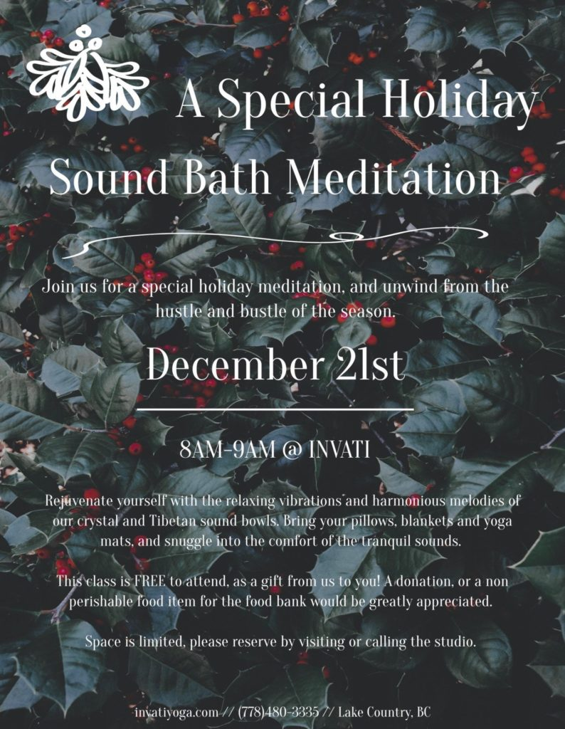 Read more on Early Morning Christmas Special Sound Bath and Meditation Ceremony